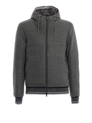 HERNO: giacche imbottite - Piumino in lana cotta con dettagli Gym Knit