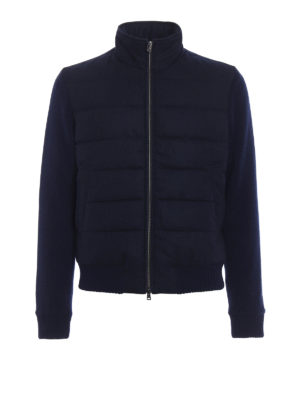 Herno: padded jackets - Knit wool and cloth bomber jacket