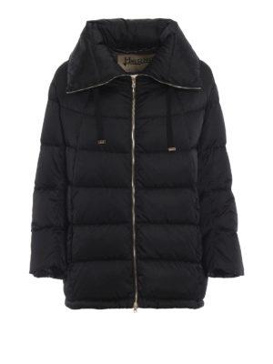 HERNO: giacche imbottite - Piumino in nylon nero con maxi colletto