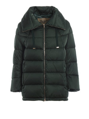 HERNO: giacche imbottite - Piumino in nylon verde con maxi colletto