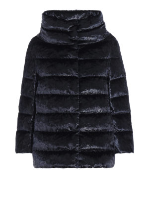 HERNO: giacche imbottite - Piumino in velluto cangiante blu notte