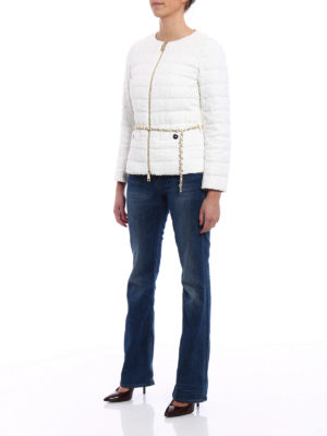 Herno: padded jackets online - Belted bouclé padded jacket
