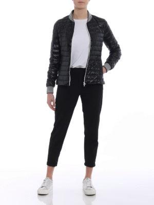 Herno: padded jackets online - Biker-inspired black padded jacket