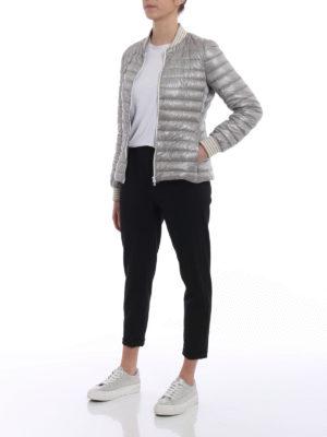 Herno: padded jackets online - Biker-inspired grey padded jacket