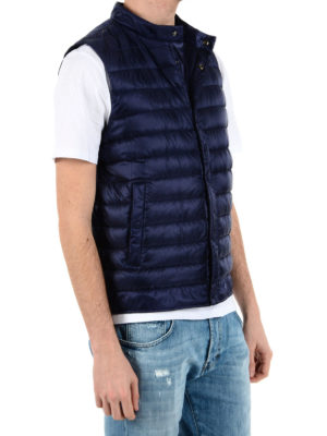 Herno: padded jackets online - Blue sleeveless puffer jacket