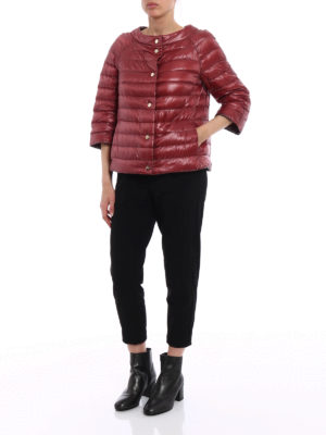 Herno: padded jackets online - Boat neck puffer reversible jacket