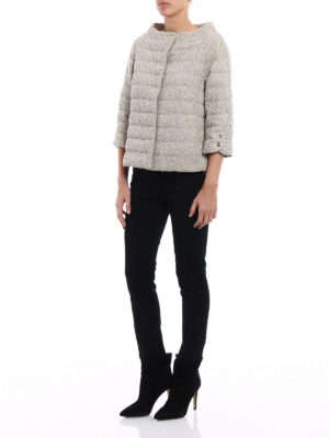 Herno: padded jackets online - Cowl collar bouclé padded jacket