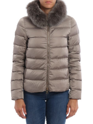 Herno: padded jackets online - Detachable fur collar padded jacket