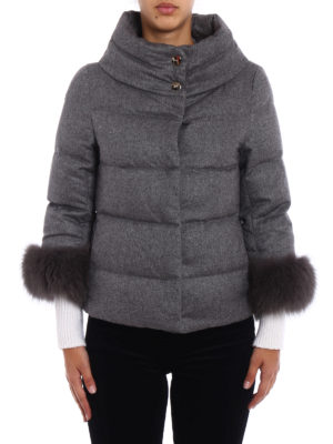 Herno: padded jackets online - Fur cuffs cashmere padded jacket