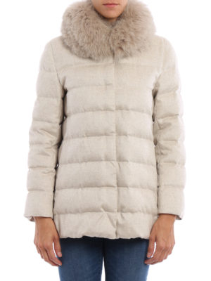Herno: padded jackets online - Fur detailed long padded jacket