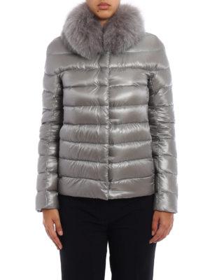 Herno: padded jackets online - Fur trimmed grey padded jacket