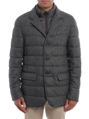 Herno: padded jackets online - Herringbone double front jacket