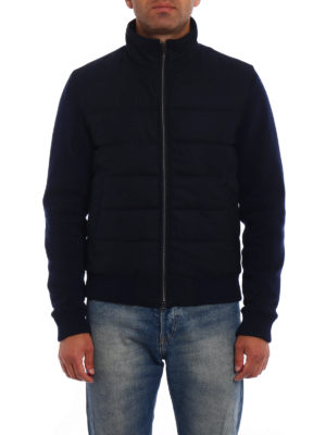 Herno: padded jackets online - Knit wool and cloth bomber jacket