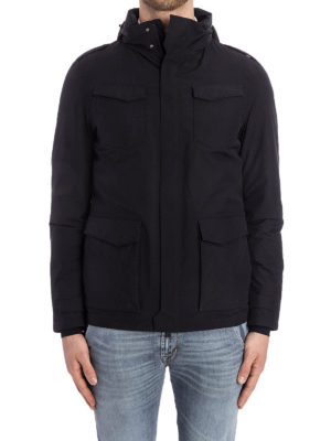 Herno: padded jackets online - Padded hooded black field jacket