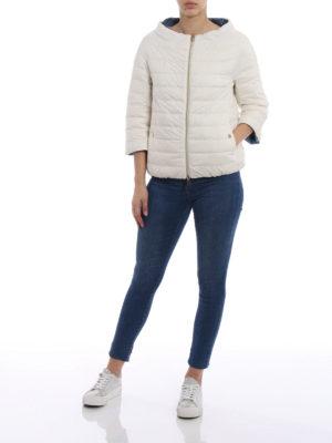 Herno: padded jackets online - Reversible white&blue padded jacket