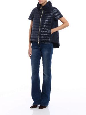 Herno: padded jackets online - Taffeta back blue padded jacket