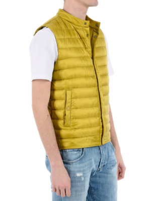 Herno: padded jackets online - Yellow sleeveless puffer jacket
