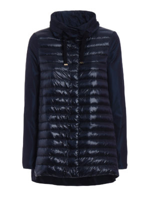 Herno: padded jackets - Padded front blue long jacket