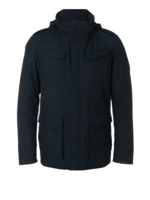 Herno: padded jackets - Padded hooded black field jacket