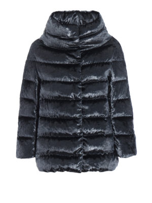 HERNO: giacche imbottite - Piumino in velluto cangiante blu petrolio