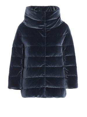 HERNO: giacche imbottite - Piumino in velluto cangiante blu avio