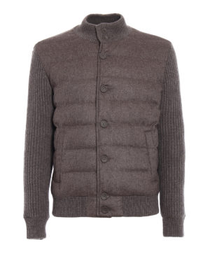 Herno: padded jackets - Soft cashmere padded bomber jacket