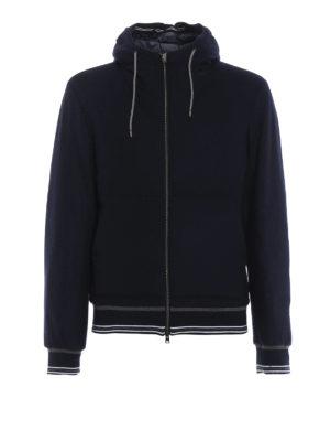 HERNO: giacche imbottite - Felpa blu con zip e cappuccio imbottita