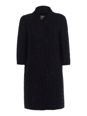 Herno: short coats - Black lurex bouclé short coat