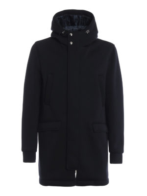 HERNO: cappotti corti - Cappotto in scuba blu con cappuccio