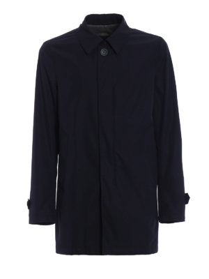 Herno: short coats - Blue technical fabric raincoat