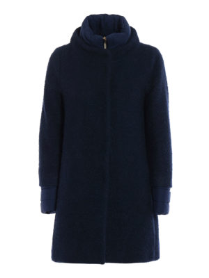 Herno: short coats - Bouclé wool double front coat