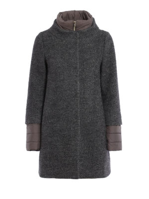 Herno: short coats - Boucle wool blend coat