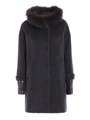 Herno: short coats - Fur trimmed collar grey padded coat
