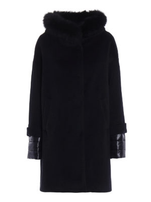Herno: short coats - Fur trimmed collar padded coat