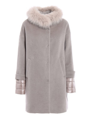 Herno: short coats - Fur trimmed padded coat