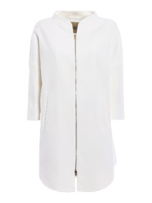 Herno: short coats - Kimono style white cotton overcoat
