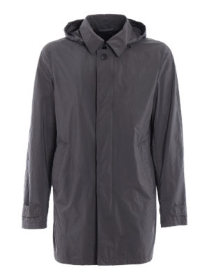 Herno: short coats - Lightweight nylon grey overcoat