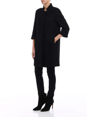 Herno: short coats online - Black lurex bouclé short coat