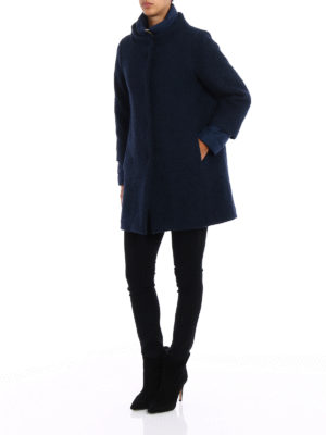 Herno: short coats online - Bouclé wool double front coat