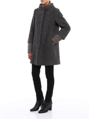 Herno: short coats online - Boucle wool blend coat