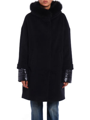Herno: short coats online - Fur trimmed collar padded coat