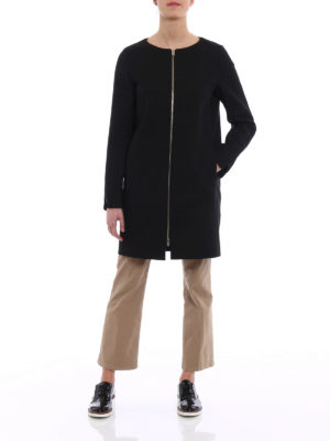 Herno: short coats online - Grosgrain detailed cotton coat