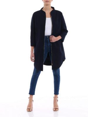 Herno: short coats online - Kimono style blue cotton overcoat