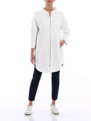 Herno: short coats online - Kimono style white cotton overcoat