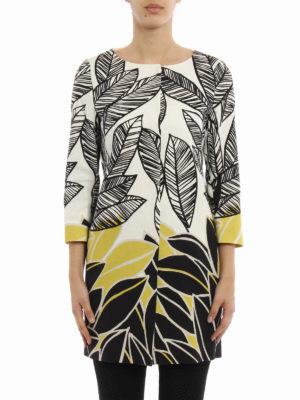 Herno: short coats online - Leaf print cotton overcoat