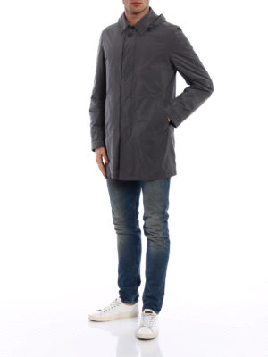 Herno: short coats online - Lightweight nylon grey overcoat
