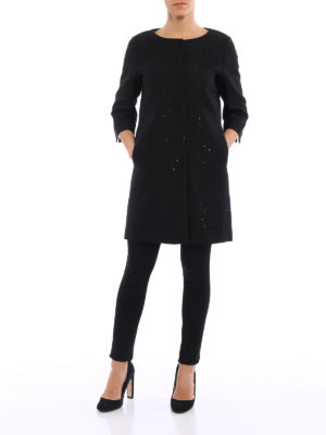 Herno: short coats online - Sequined tweed coat