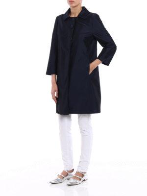 Herno: short coats online - Stretch blue dust coat