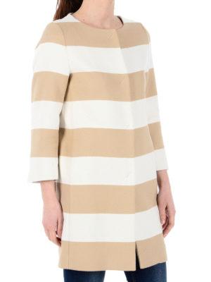 Herno: short coats online - Striped collarless overcoat