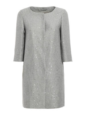 Herno: short coats - Sequined jacquard coat